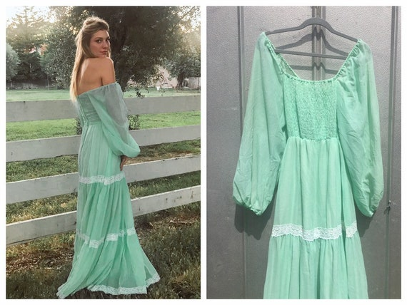 Mint Puff Sleeve Smocked Prairie Dress