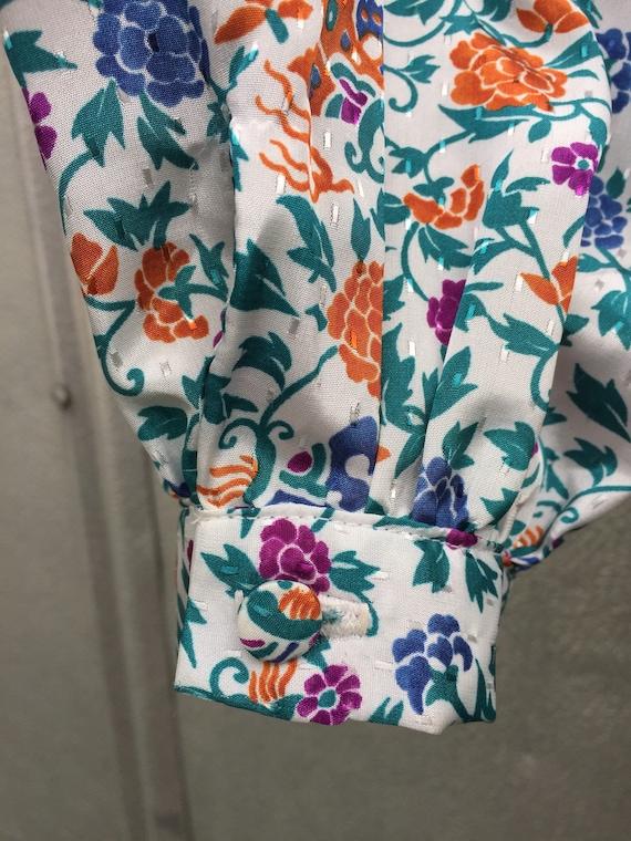 Vintage 70s Lanvin Floral Shirt Dress - image 5