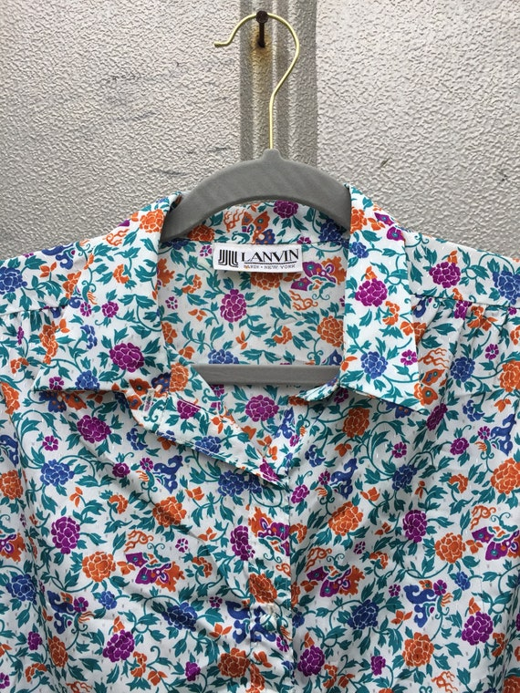Vintage 70s Lanvin Floral Shirt Dress - image 3