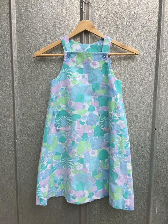 60's Girls Mushroom Handmade Dress Vintage Print