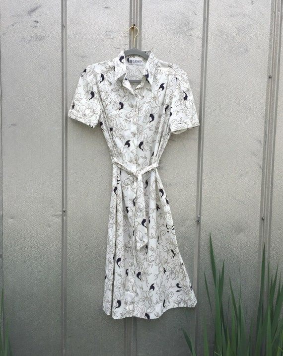 Vintage 70s Lanvin White Shirt Dress