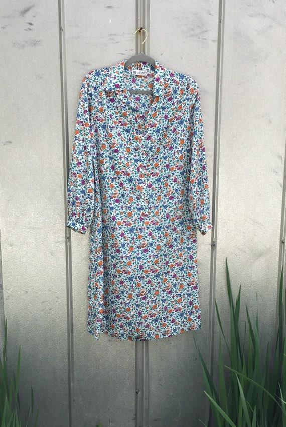 Vintage 70s Lanvin Floral Shirt Dress - image 7