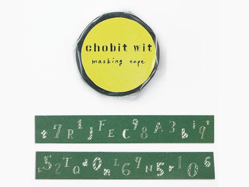 chobit wit Numbers /& Letters on Blackboard  Dark Green Chalkboard  Fruit Washi Masking Tape CW-071,184 GreenFlash 15mm width