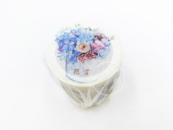 15mm  20mm width Gold Foil Red Peony Flower  Cherry blossom  Sakura Flower with Traditional Japanese Wave Pattern Washi Masking Tape