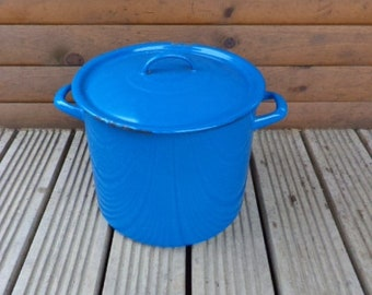 Vintage Stockpot, Enamel Stockpot, Vintage Casserole Pot, French Enamel Pot, Enamel Cooking Pot, French Pot (ref 167)