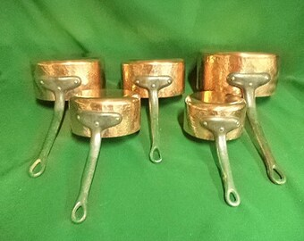 French copper saucepans, set of 5  pans, vintage copper pans, Copper kitchen, Copper pots, Copper cookware, new tin lined, 4.25kg (re 245EF)