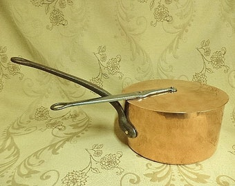 Professional Copper Pan,Copper pan, Copper pan and lid, Vintage copper pan, Copper pot 25cm, Copper saucepan ,  (296FE)