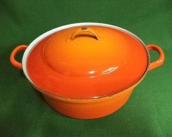 Vintage Enamel kitchenware, French Enamel, Enamel stockpot, enamel casserole, Vintage kitchen, Shabby Chic, French vintage  (ref 237EF)