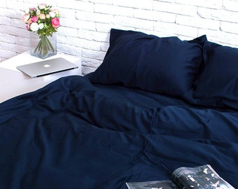 250a33d02640 100% Cotton Sateen Set of 3 pieces in Blue. Duvet cover + 2 pillowcases. Twin  Full Queen Single KingSingle Double Custom Bed Linen