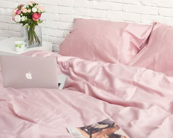 5cc65846278d 100% Cotton Sateen Set of 3 pieces in Rose Gold. Duvet cover + 2 pillowcases.  Twin Full Queen Single KingSingle Double Custom Bed Linen