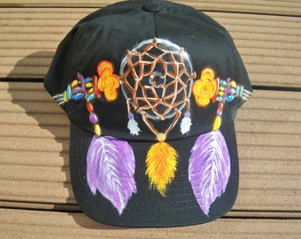 casquette enfant, casquette noire,  peinte main, casquette attrape-rêves, taille ajustable, mode hippie, casquette coton, casquette fille