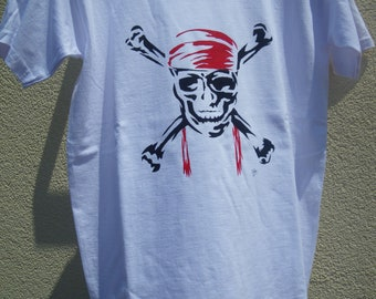 tee-shirt adolescent,  peint à la main, coton blanc,tête de mort, pirates, manches courtes, mode ado, tee-shirt garçon, tee-shirt fille,