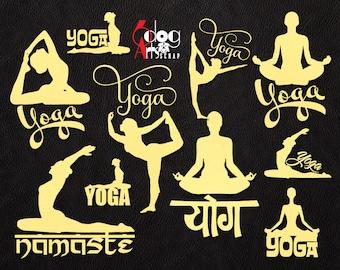 12 Yoga Logo Designs Vector Digital Cut Files SVG DXF Download Vinyl Crafts Die Cutting Silhouette Cricut Cnc Plasma Laser Cutter JB-1064