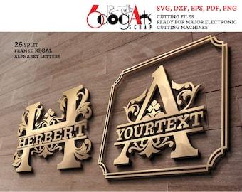 Split Regal Monogram Alphabet Letters SVG DXF Vector Cut Files Metal Vinyl Laser cnc Plasma Silhouette Cricut JB-1534