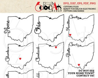 Outline Map Of Ohio.Ohio Outline Map Etsy