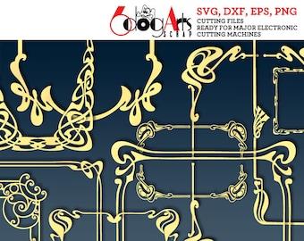 10 Art Nouveau Frames Vector Digital Cut Files Svg Dxf Eps Png Silhouette SCAL Cricut Printable Download DIY Paper Vinyl Die Cutting JB-714