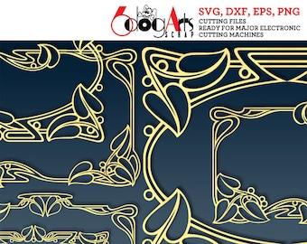 11 Art Nouveau Lace Frames Vector Digital Cut Files Svg Dxf Eps Png Silhouette SCAL Cricut Printable Download Paper Vinyl Die Cutting JB-712