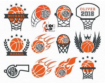 Basketball Sport Monogram Frames Digital Cut Files SVG DXF Vector Cuttable Download Vinyl Iron On Heat Transfer Silhouette Cricut JB-941