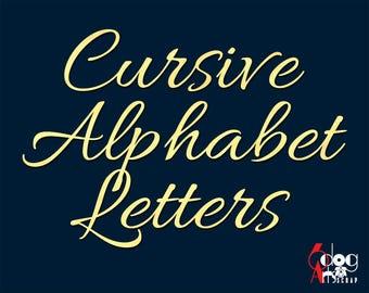 Elegant Cursive Alphabet SVG DXF Vector Cut Files Monogram Cuttable Letters Vinyl Iron On Heat Press Transfer Silhouette Cricut JB 775