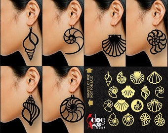 16 Metal Wood Acrylic Leather Sea Shell Earring / Pendant Templates Vector Digital SVG DXF Jewelry Files Download Laser Cutting JB-1107