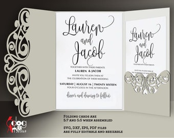 9 Lace Card / Envelope Templates Digital Cut SVG DXF Files Wedding Invitation Stationery Laser Cuttable Download Silhouette Cricut JB-899