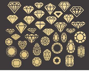 Diamonds Clip Art Digital Cut Files Svg Dxf Eps Png Silhouette SCAL Cricut Printable Vector Download for DIY Paper Vinyl Die Cutting JB-584