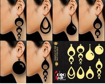 8 Leather / Wood / Acrylic Teardrop Earring / Pendant Templates Vector Digital SVG DXF Jewelry Cut Files Download Laser Die Cutting JB-1109