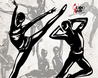 Ballet Dance Clip Art Vector Digital Cut Files Svg Dxf Download Paper Metal Vinyl Crafts Laser Die Cutting Silhouette Cricut JB-1055