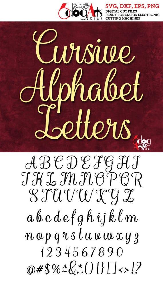 cursive alphabet letters svg dxf vector cut files monogram etsy