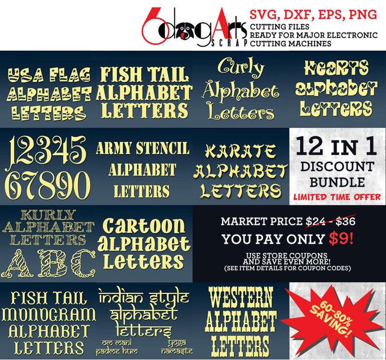 Alphabet Letters SVG DXF Font Bundle Cut Files Cuttable Letters Vinyl Iron  On Heat Press Transfer Silhouette Cricut Digital Download Vol 2