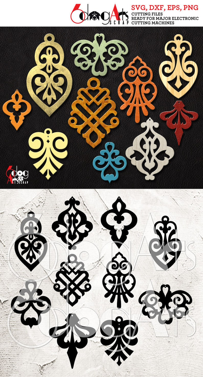 10 Leather Wood Acrylic Damask Earring Pendant Templates Vector Digital Svg Dxf Jewelry Cut Files Download Laser Die Cutting Jb 1088