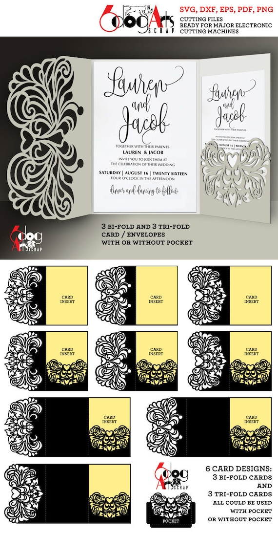 6 Lace Wedding Invitation Card Templates Digital Cut Files Svg Dxf Eps Png Pdf Silhouette Cricut Vector Download Paper Die Cutting Jb 896