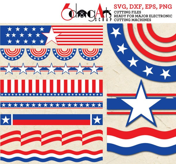 America 4th Of July Usa Flag Banners Vector Digital Cut Files Etsy