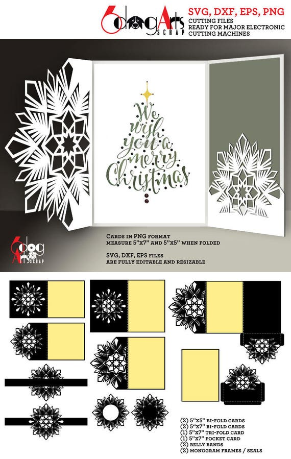 10 Snowflake Christmas Card Templates Digital Cut SVG DXF ...