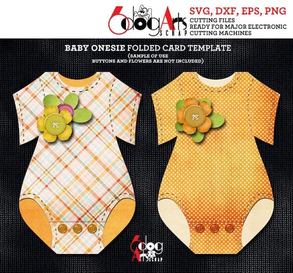 Baby Onesie Folded Card Template Digital Cut SVG DXF Files