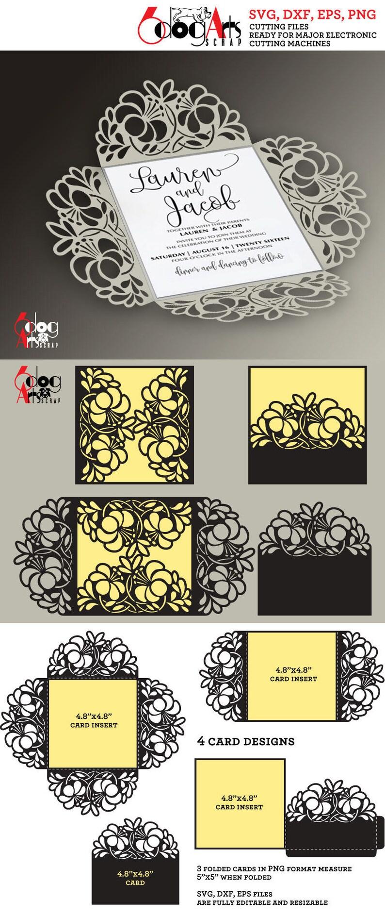 4 Floral Lace Card Templates Digital Cut SVG DXF Files ...