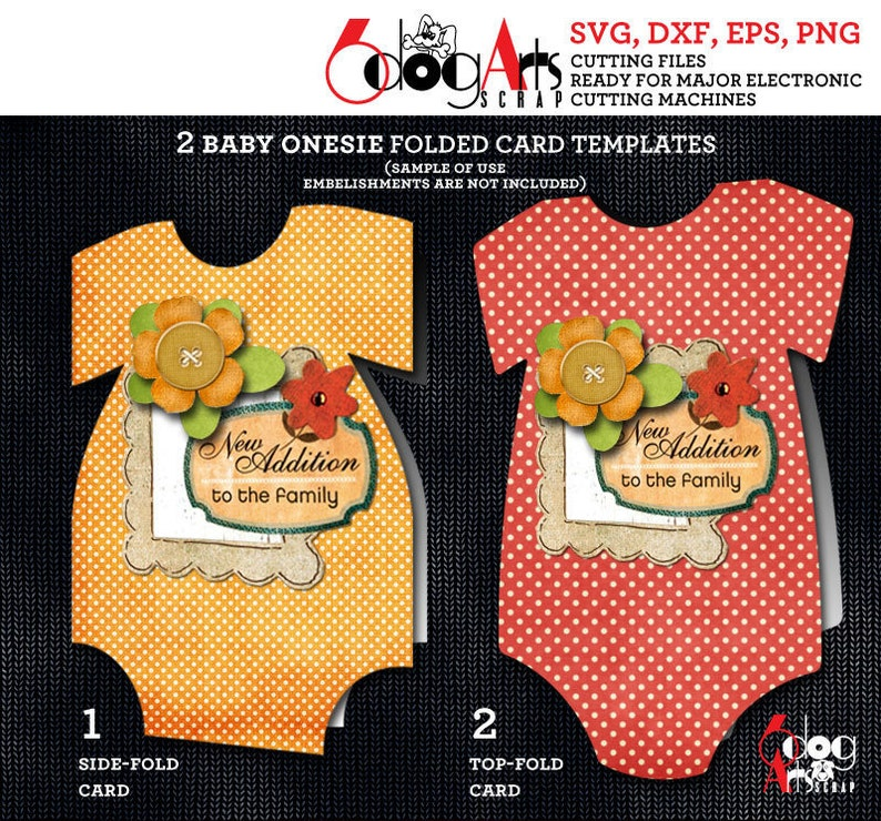 2 Baby Onesie Folded Card Templates Digital Cut SVG DXF ...