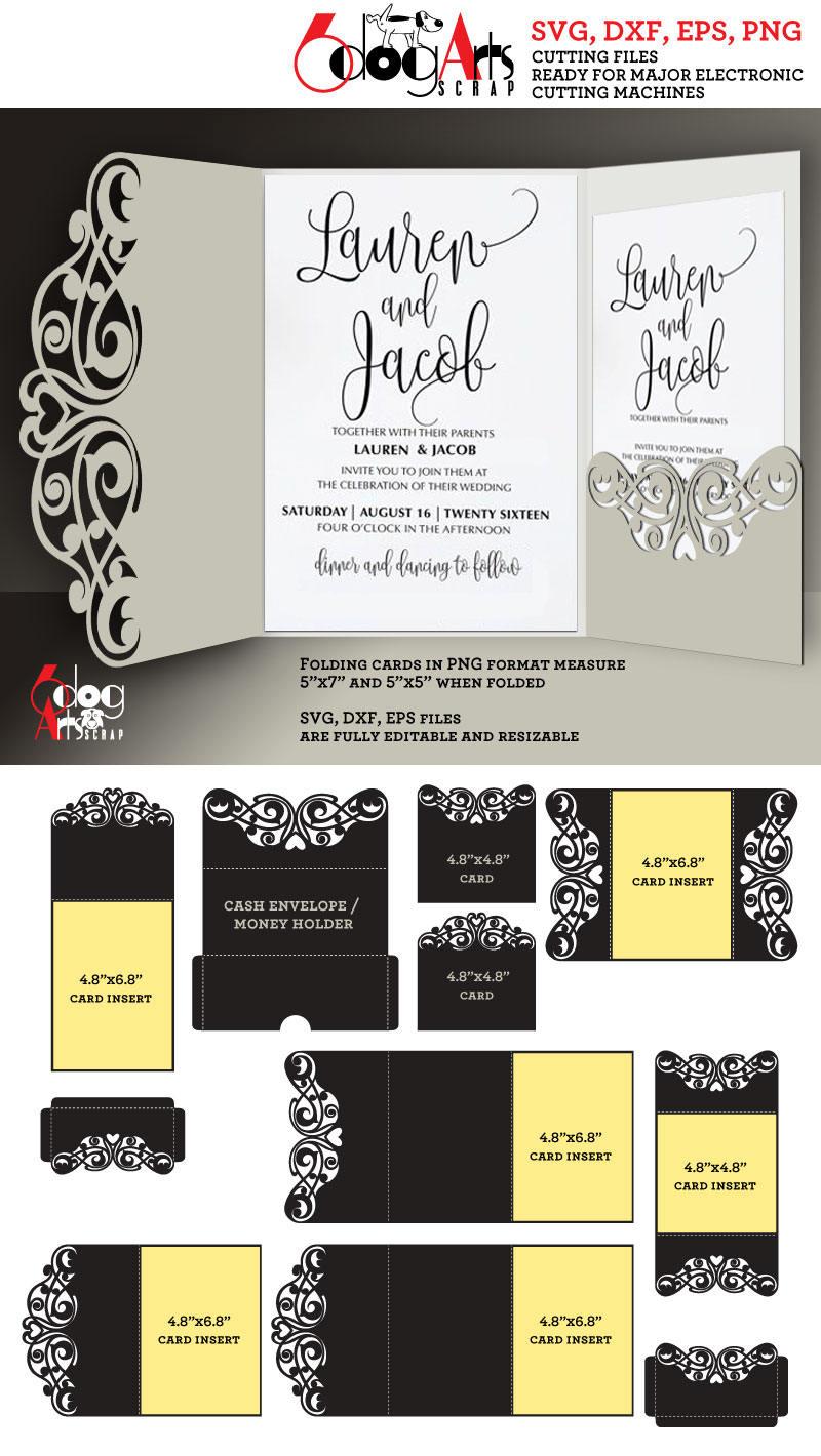9 Lace Card / Envelope Templates Digital Cut SVG DXF Files | Etsy