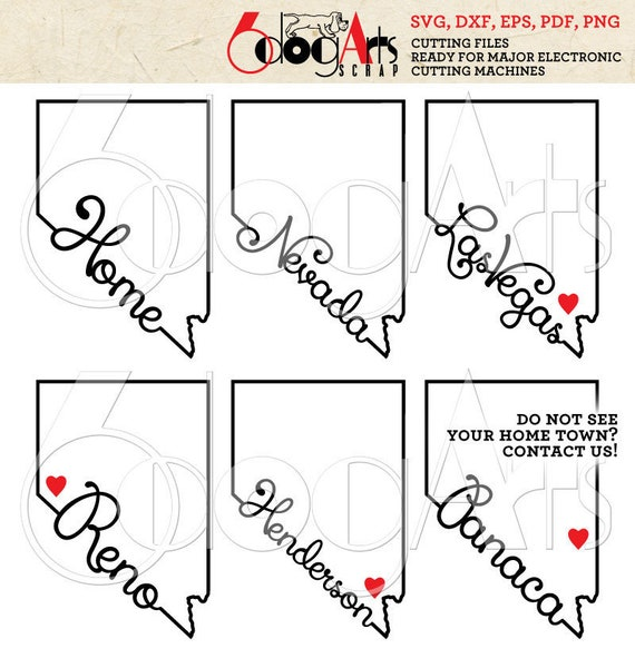 Nevada Outline Typography Cut Files Svg Dxf Silhouette Cricut Etsy