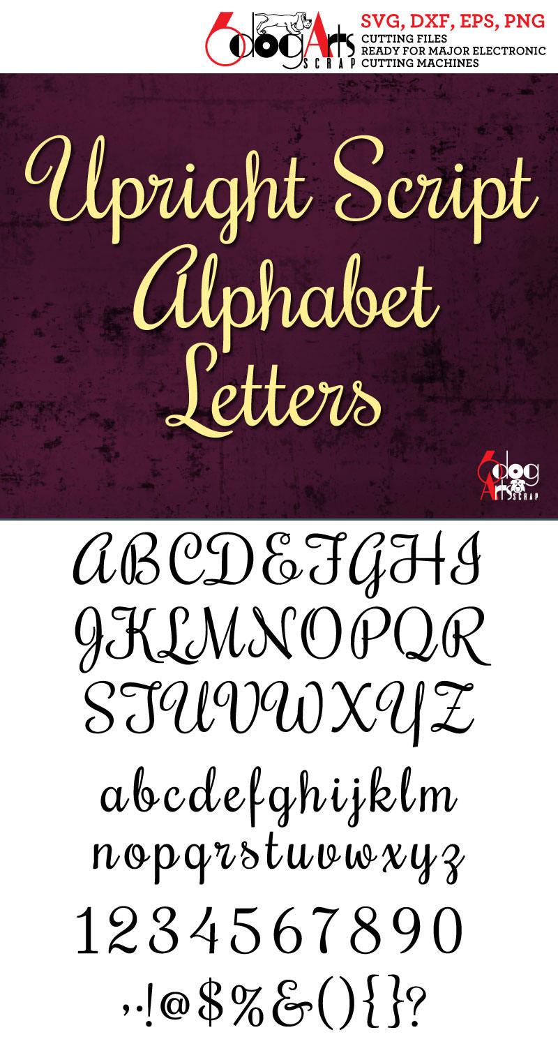 Upright Script Alphabet Letters Svg Dxf Vector Cut Files