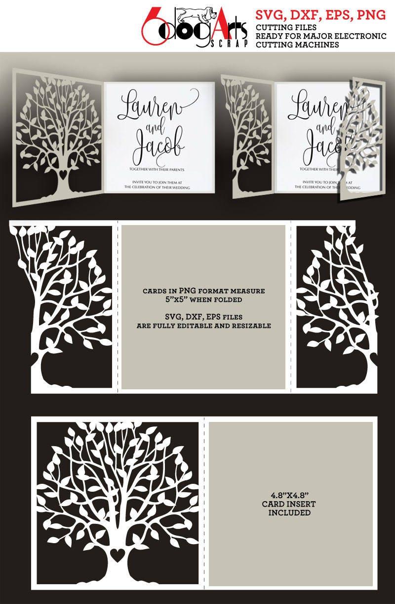 2 Tree Lace Card Templates Digital Cut SVG DXF Files Wedding | Etsy
