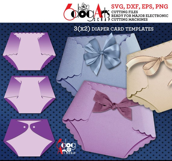 3 Diaper Card Templates Digital Cut Svg Dxf Files Baby Shower Etsy