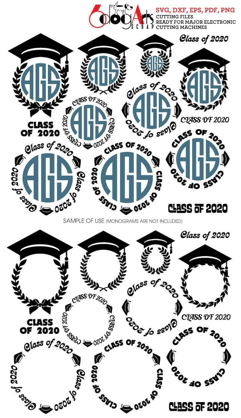 Graduation Frames 2020.Graduation Class Of 2020 Monogram Frames Digital Cut Files Svg Dxf Pdf Eps Png Silhouette Scal Cricut Download Vinyl Die Cutting Jb 692