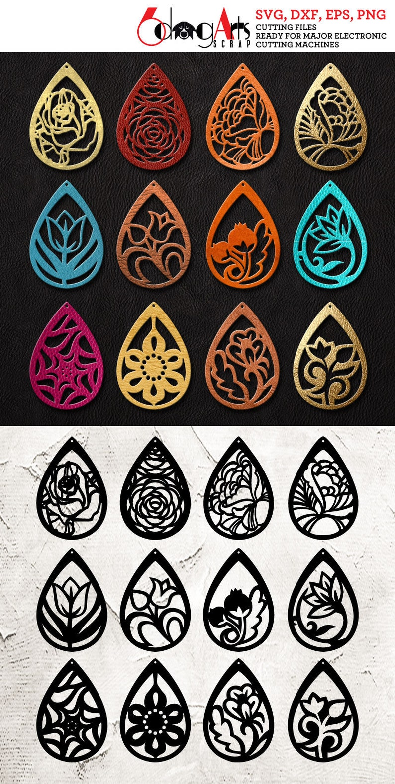 12 Leather Wood Earring Templates Vector Digital Svg Dxf Etsy