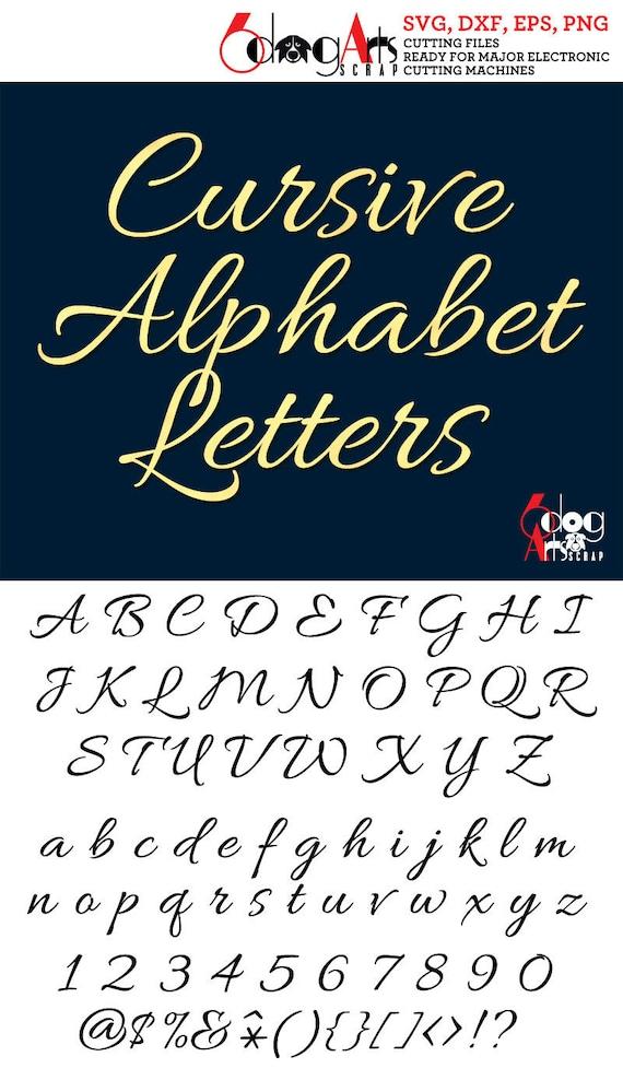 Elegant Cursive Alphabet SVG DXF Vector Cut Files Monogram Cuttable Letters  Vinyl Iron On Heat Press Transfer Silhouette Cricut JB-775