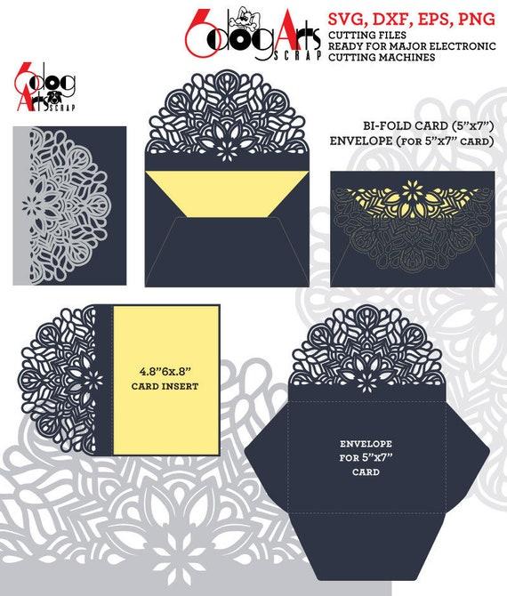 Mandala Lace Card & 2 Envelope Templates Digital Vector Cut | Etsy
