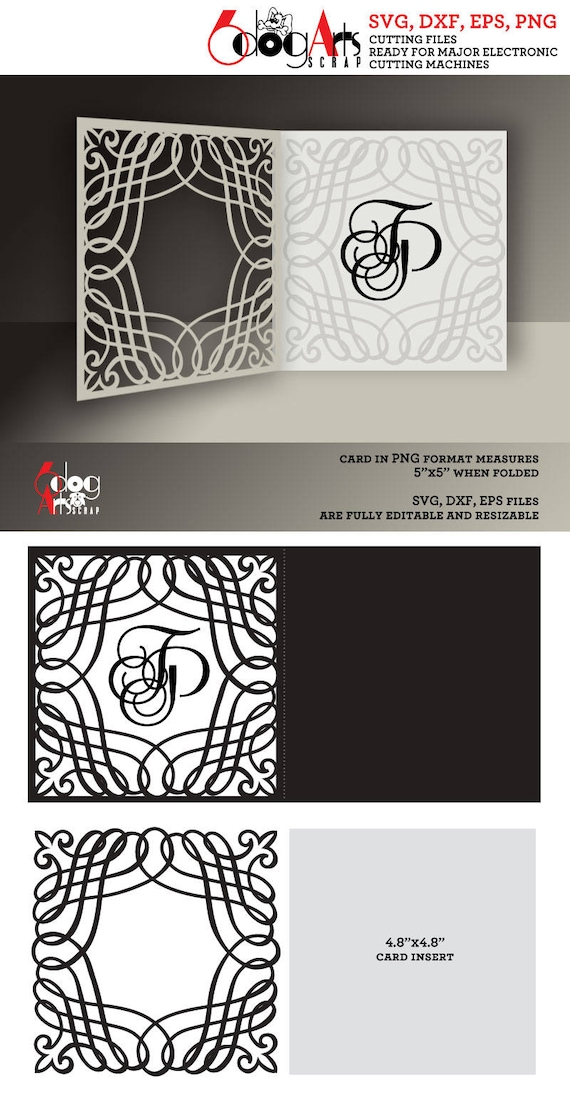 240a769b41 Calligraphic Lace Card Template Digital Cut SVG DXF Files | Etsy