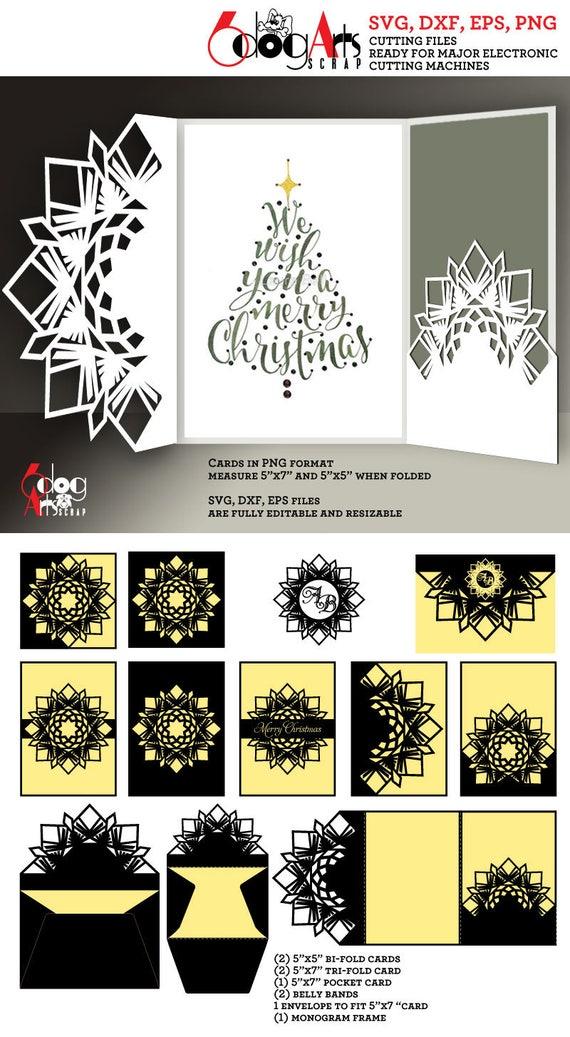 10 Snowflake Christmas Card Templates Digital Cut SVG DXF   Etsy