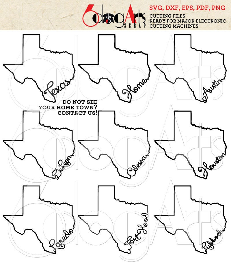 Texas Outline Typography Cut File Svg Dxf Eps Silhouette