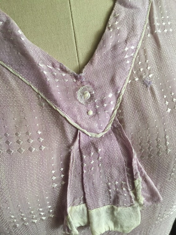 1920s 20s Lavender silk woven flapper day shift d… - image 5